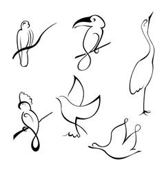 bird design set vector image vector image
