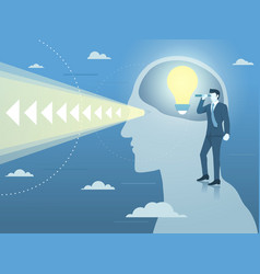 businessman with new bright idea and clear vision vector image vector image