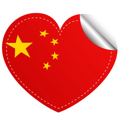 Flag icon design for china in heart shape vector
