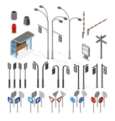 Isometric 3d street road objects icons set vector image vector image