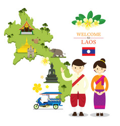 laos map and landmarks with people in traditional vector image vector image