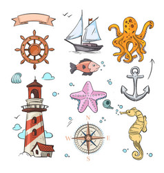 nautical doodle design set with sea star vector image vector image
