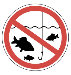 sign time of spawning fishing is prohibited fish vector image vector image