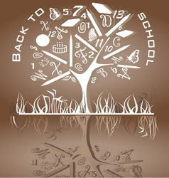 Tree shaped made of back to school icons vector image
