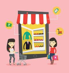 two women doing shopping online vector image