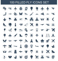 100 fly icons vector