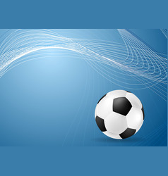 Abstract blue wavy soccer background with ball vector