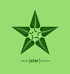 Abstract design element star with green summer vector image