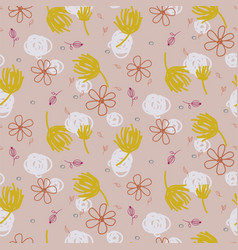 abstract shapes and florals seamless pattern pale vector image
