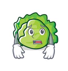 Afraid lettuce character cartoon style vector