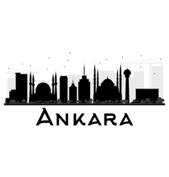 Ankara City skyline black and white silhouette vector