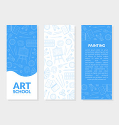 art school banner templates set with place for vector image