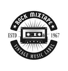 audio cassette music black emblem isolated vector image