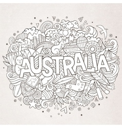 Australia hand lettering and doodles elements vector