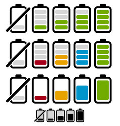 Battery level or life indicator set segmented and vector