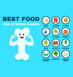 best food for strong bones strong healthy vector image