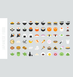Big set of japanese food and beverage flat icon vector