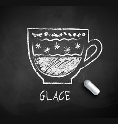 black and white sketch of glace coffee vector image