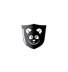 black shield with panda face in middle vector image
