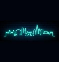 blue neon skyline london city bright london vector image