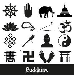 Buddhism religions symbols set icons eps10 vector