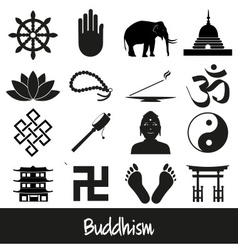 buddhism religions symbols set of icons eps10 vector image vector image