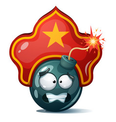 Cartoon bomb fuse wick spark icon kokoshnik vector