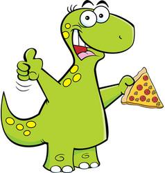 Cartoon brontosaurus holding a slice of pizza vector