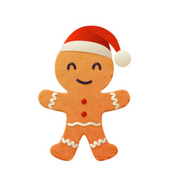 Cartoon gingerbread cookie in santa claus vector