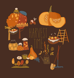 cartoon set harvesting time hello autumn vector image
