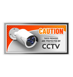 caution protected cctv nameplate banner vector image