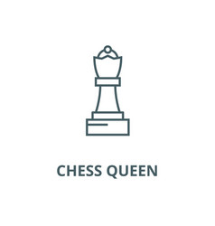 chess queen line icon chess queen outline vector image