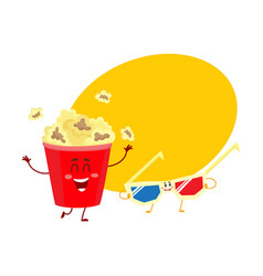 cinema popcorn and 3d stereoscopic glasses vector image
