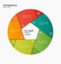 Circle chart infographic template 5 vector