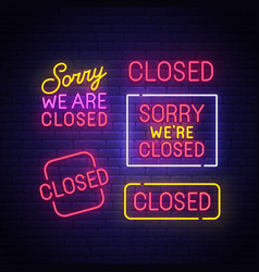 closed neon sign vector image