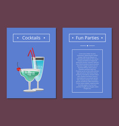 cocktail fun parties classic summer alcohol drinks vector image