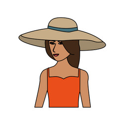 Color image cartoon half body woman with beach hat vector