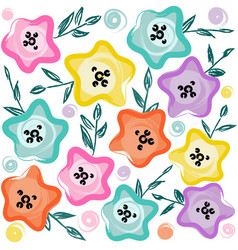 cute pastel floral pattern vector image