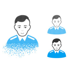 Dispersed pixelated halftone officer icon with vector