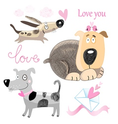 Dog lovers set vector