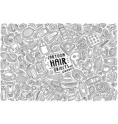 Doodle cartoon set hair salon objects and vector