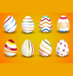 Easter eggs collection on a white vector