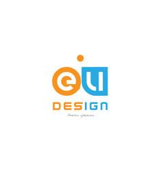 Eu e u orange blue alphabet letter logo vector