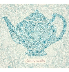 Floral teapot vector