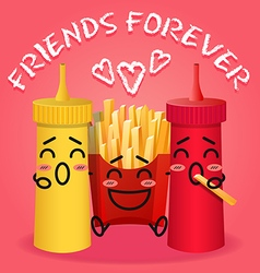 fried potatoes and ketchup and mustard cartoon vector image