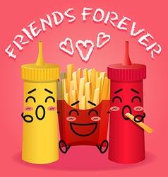 Fried potatoes and ketchup and mustard cartoon vector
