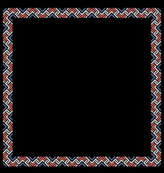 Geometric color ethnic frame on black vector