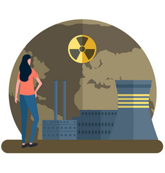 Girl looks at planet destroyed radioactive vector