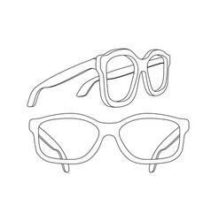 Glasses white flat outline drawing vector