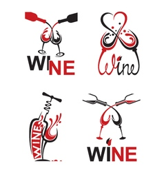 Glasses with wine vector